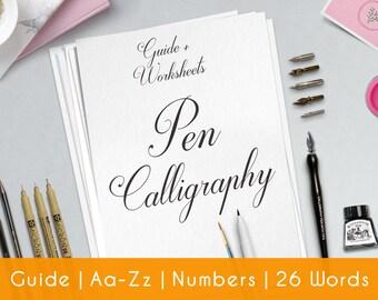 Calligraphy Worksheet   Practice Sheets   Guide   Beginner   PRINTABLE   Learn Calligraphy   Brush Lettering   Hand Lettering workbook   P2
