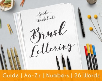 Bounce Lettering | 27 practice sheets | Guide for Beginners | Brush Hand Lettering workbook | Printable worksheets | learn Calligraphy | B9