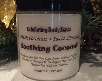 Soothing Coconut Hand / Foot / Body Sugar Scrub / Emulsified Sugar Scrub / Handmade / Vegan Friendly /  Gift For Her / FREE SHIPPING (US)