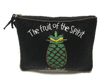 Swaraj Bag pineapple bead 2-WAY silk - BLACK beaded embroidered chain bag casual