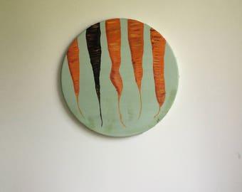 Painting, Wall Art, Foodie Art, original Painting, carrot Painting, small art piece, kitchen wall art, round art piece