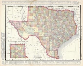 Vintage Texas Map Etsy - Atlas map of texas