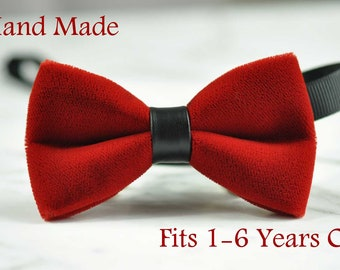 Baby Infant Kids Boy Solid RED Velvet Black Faux Leather Bowtie Bow Tie 1 to 6 Years Old Wedding Party