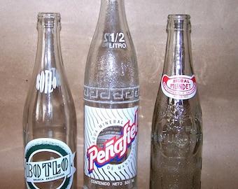3 Vintage Soda Bottles Penafiel, Sidral Mundet & Botl-0 Mexico Mexican 1960's