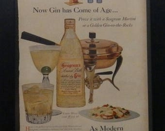 Seagram's Gin, Vintage Ad, Life Magazine, Mad Man Decor, Mobiloil, Man Cave Decor, Coctails, Vintage Car, Collage, Mixed Media