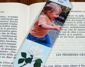1 bookmark with identical sides front white rose photo