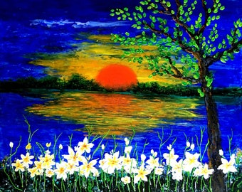 Textured Painting on Canvas, landscape Impasto Painting Art, Tree and Flower Painting, Sunset Painting, Blue Painting Art, White Flower Art