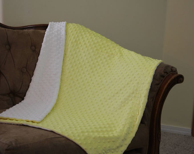 Baby Minky Blanket, Yellow & White Minky Dot, Security Blanket, Baby Shower, Christmas Gift, Receiving Blanket, 30 x 36 Reversible Minkee