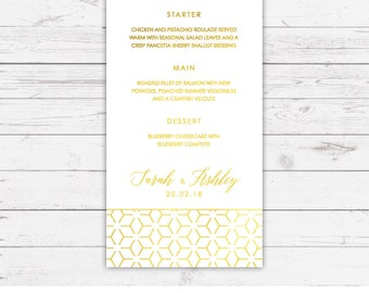 Foil wedding breakfast menu - Linea design and printed on top quality card