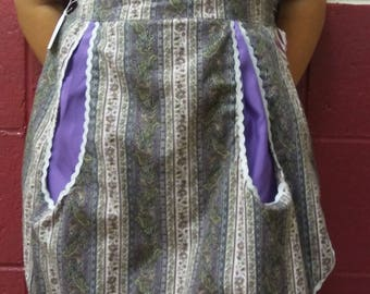 "Adult ""June"" Half Apron Cotton  One of a Kind in Purple"