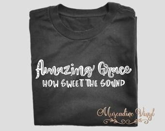 Amazing Grace T-Shirt, Amazing Grace How Sweet The Sound Tee, Christian, Bible, Hymn