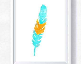 FEATHER printable, feather print, feather watercolor, turquoise feather, printable wall art, boho print, bohemian poster, instant download