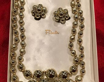 1950's Gold Necklace and Earrings Set