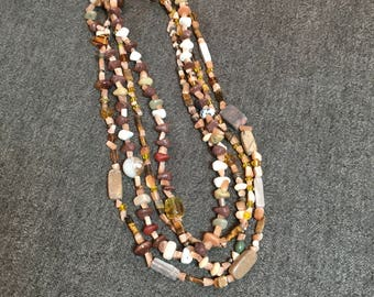 Soft Orange and Brown Beaded Necklace