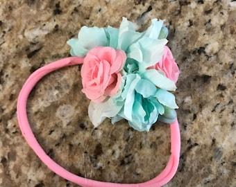 Aqua and pink floral baby headband