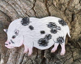 Pig, Hand Painted Ornament/Magnet