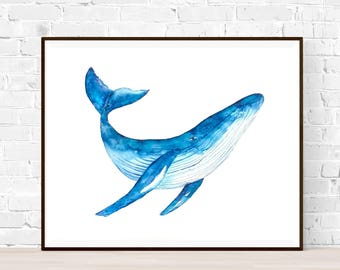 Original Whale watercolor-A4-Humpback whale painting-Original watercolor-whale illustration-whale painting-blue whale watercolor-wall decor