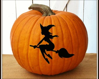 Witch Halloween Pumpkin Decals ~ Jack-o-Lantern Decal ~ Halloween Door or Window Decal ~ Pumpkin Sticker ~ Easy to Apply Decals ~ Witchy