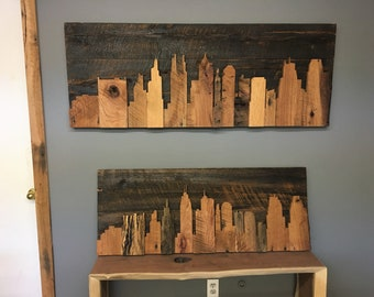 KC Skyline | Silhouette | Rustic Wall Art