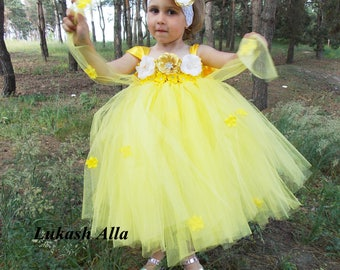 Yellow  Flower Girl Dress, Tutu Dress