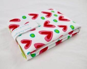 Ecofriendly lunch bag, snack bag, reusable sandwich bag, heart, canvas, cotton