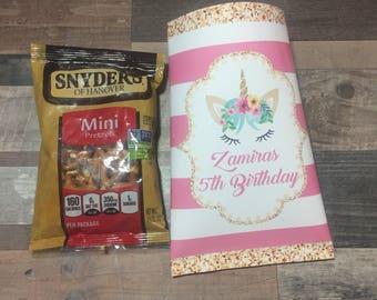 Various  themed Chip  Bag /unicorn, ice cream sunday, Disney cars, ballerina sweet 16