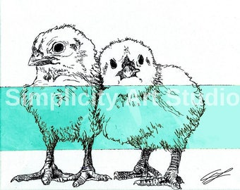 Baby Chickens Chicks Original Artwork Prints / Various Colors Available/ Various Sizes Available