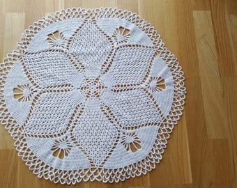 Glitter white handmade large (67cm) round crochet doily napkin tablecloth  perfect for classic and