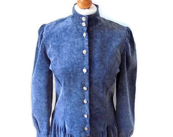Vintage Marion Donaldson.70's/80's soft grey corduroy dress Victorian,Edwardian,Prairie drop waist midi dress.Marion Donaldson dress