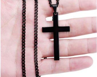 Black Titanium Christian Cross Necklace - Crucifix Pendant - Christian Jewelry
