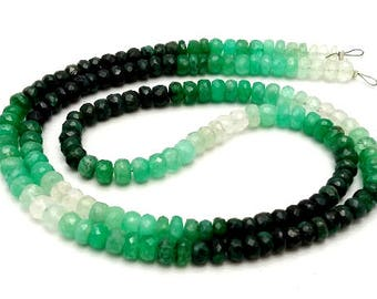 "Very good quality Natural EMERALD Shaded faceted beads , 4 mm  Approx ,19"" strand [E0951] Emerald beads very good quality"