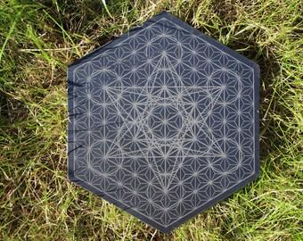 Metatron's cube / Asanoha - Slate Crystal Grid