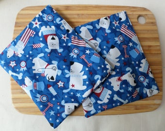 Reusable Snack Bag with velcro closure (Patriotic Pups)  / In stock and ready to ship