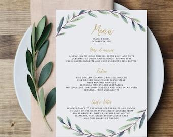 PRINTABLE Wedding Menu, Greenery Wedding Menu, Printable Customizable Wedding Menu, Wedding Reception Menu, Event Menu, Minimalist, Simple