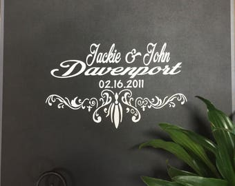 Custom Wedding Decal, Custom Vinyl Wedding Decal, Custom Wedding Decor