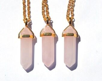 Gold Rose Quartz Necklace, Rose Quartz Crystal Necklace, Gold Crystal Necklace, Rose Quartz Necklace, Quartz Crystal, Crystal Pendant,Gold
