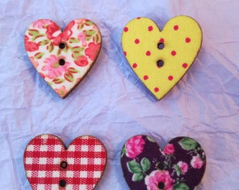 4 Wooden Heart Buttons - for Crafts - Wood backs - Assorted Colours & Patterns