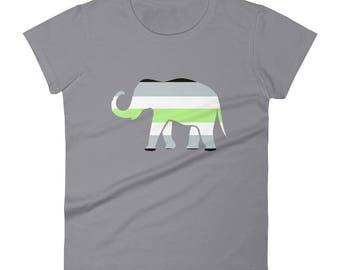 Agender Pride Elephant Women's short sleeve t-shirt lgbt lgbtqipa lgbtq mogai pride flag