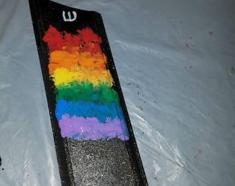 Rainbow Pride LGBT Mezuzah Case OOAK, one of a kind, unique