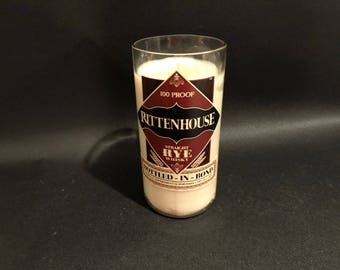 Rittenhouse Rye Whiskey BOTTLE Soy Candle.  Made To Order