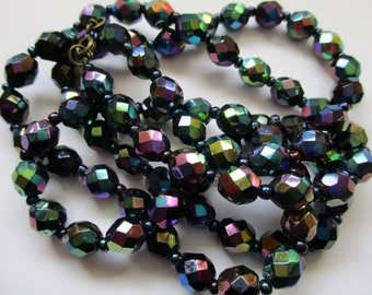 Vintage Art Deco Carnival Glass Bead Necklace