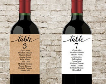 Customizable, Wine Table Number, Seating Chart, Pack of four (4) Labels, Wine Bottle Label