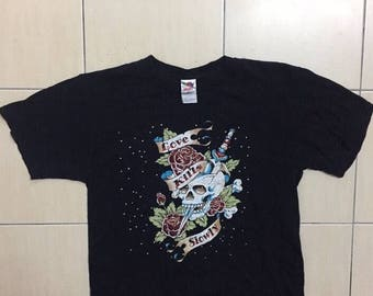 "Ed Hardy ""Love Kills Slowly"" Bling Biling Skull Shirt By Fruit of The Loom"