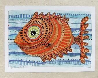 Digital print A4, picture orange fish