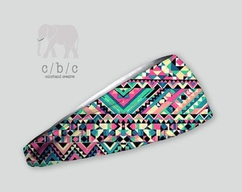 Tribal headband, yoga headbands, fitness headband, pink headband, turquoise headband, boho headband, bohemian headband, nonslip headband