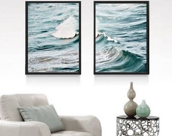 Print set of 2 ocean photography nautical decor, waves abstract, ocean wall decor, large wall art print, beach wall art photo download