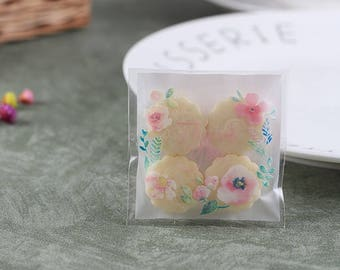 """100 Pcs Pink Flower """"Thank You"""" Packaging Gift Bags"""