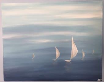 Sails in mist