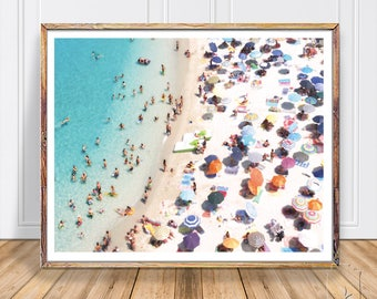 Beach Photography, Aerial People on the Beach ,Art Aerial Beach Photo, People On Beach ,Sea Prints, Instant Printable Digital Print Download