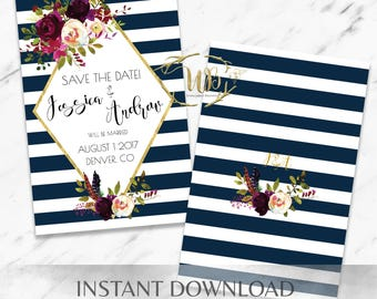 Striped Floral Marsala Save the Date Instant Template